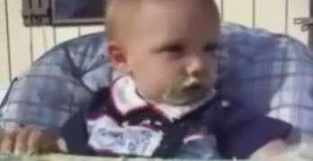 Tired Baby Eating Cake