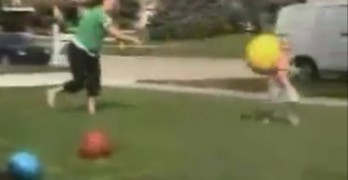 Little Girl Gets Hit By Yellow Ball And Goes Flying