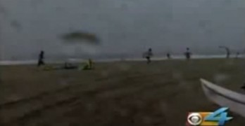 Wind Blows Kite Surfer Into Building