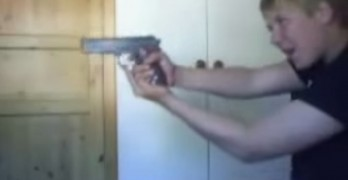 Stupid Kid With Gun Injuries Himself Accidently