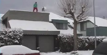 Snowboarding Off Roof