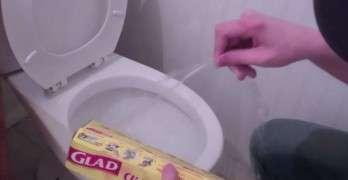 Saran Wrap Toilet Prank