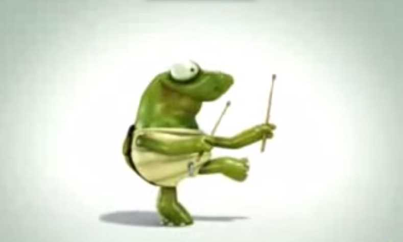 Crazy Turtle Drummer Animated Clip