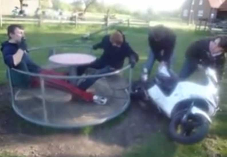 Merry Go Round Disaster With Flying Kid