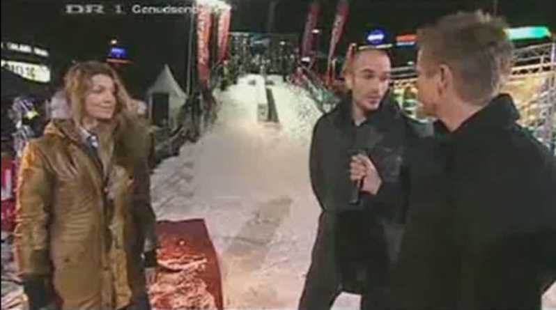 Snowboarder Hits Girl Model Standing On Slope