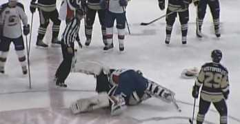 AHL Hockey Goalie Fight At Center Ice