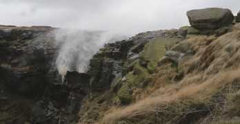 Kinder Downfall In England Blowing Backwards