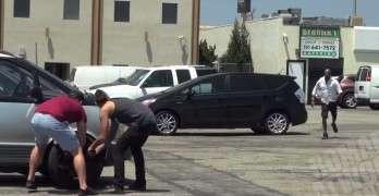 Stealing Car Tire Prank Gets Them Good